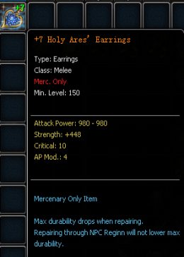 +7 Holy Ares'Earrings